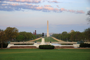 National Mall, Washington D.C. features a two-mile park spanning from the Capitol grounds to the newly dedicated Lincoln Memorial.